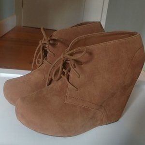 4/$30  Lace Up Wedge Booties